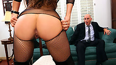 Fabulous darling in sexy catsuit seduces her boss