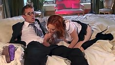 Beautiful redhead girl and professor of rest before the lesson
