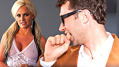 Hardcore riding sex in office with blonde pornstar