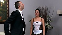 Naughty maid poked by two studs at the same time